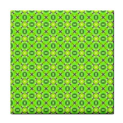 Vibrant Abstract Tropical Lime Foliage Lattice Tile Coasters by DianeClancy