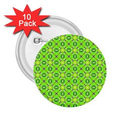 Vibrant Abstract Tropical Lime Foliage Lattice 2 25  Buttons (10 Pack)  by DianeClancy