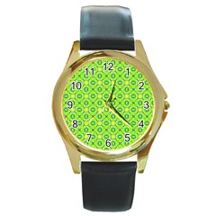 Vibrant Abstract Tropical Lime Foliage Lattice Round Gold Metal Watch by DianeClancy