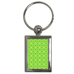 Vibrant Abstract Tropical Lime Foliage Lattice Key Chains (rectangle)  by DianeClancy
