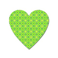 Vibrant Abstract Tropical Lime Foliage Lattice Heart Magnet by DianeClancy
