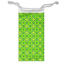 Vibrant Abstract Tropical Lime Foliage Lattice Jewelry Bags by DianeClancy