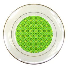 Vibrant Abstract Tropical Lime Foliage Lattice Porcelain Plates by DianeClancy
