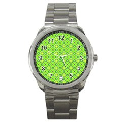 Vibrant Abstract Tropical Lime Foliage Lattice Sport Metal Watch by DianeClancy