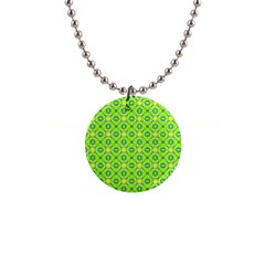 Vibrant Abstract Tropical Lime Foliage Lattice Button Necklaces by DianeClancy