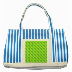 Vibrant Abstract Tropical Lime Foliage Lattice Striped Blue Tote Bag by DianeClancy