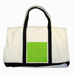 Vibrant Abstract Tropical Lime Foliage Lattice Two Tone Tote Bag by DianeClancy