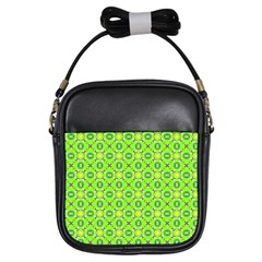 Vibrant Abstract Tropical Lime Foliage Lattice Girls Sling Bags by DianeClancy