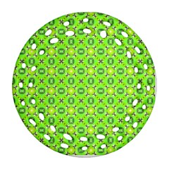 Vibrant Abstract Tropical Lime Foliage Lattice Ornament (round Filigree)  by DianeClancy