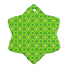 Vibrant Abstract Tropical Lime Foliage Lattice Snowflake Ornament (2 Side) by DianeClancy