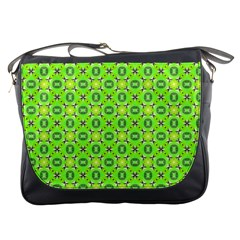 Vibrant Abstract Tropical Lime Foliage Lattice Messenger Bags by DianeClancy