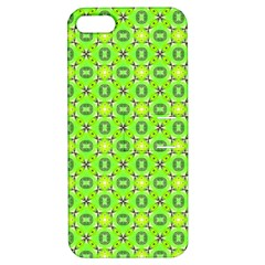 Vibrant Abstract Tropical Lime Foliage Lattice Apple Iphone 5 Hardshell Case With Stand by DianeClancy