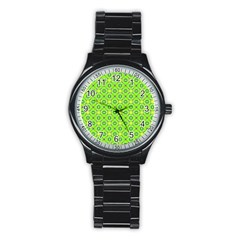 Vibrant Abstract Tropical Lime Foliage Lattice Stainless Steel Round Watch by DianeClancy