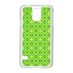 Vibrant Abstract Tropical Lime Foliage Lattice Samsung Galaxy S5 Case (white) by DianeClancy