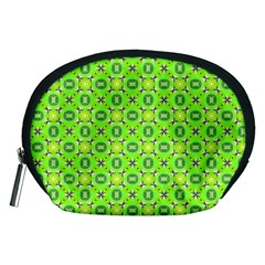 Vibrant Abstract Tropical Lime Foliage Lattice Accessory Pouches (medium)  by DianeClancy