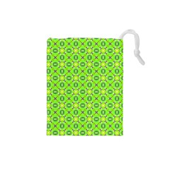 Vibrant Abstract Tropical Lime Foliage Lattice Drawstring Pouches (small)  by DianeClancy