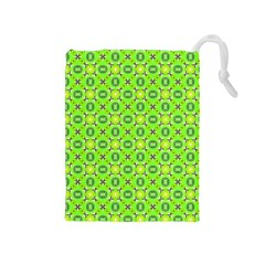 Vibrant Abstract Tropical Lime Foliage Lattice Drawstring Pouches (medium)  by DianeClancy