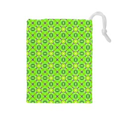 Vibrant Abstract Tropical Lime Foliage Lattice Drawstring Pouches (large)  by DianeClancy