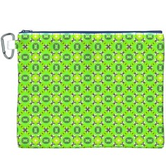 Vibrant Abstract Tropical Lime Foliage Lattice Canvas Cosmetic Bag (xxxl)  by DianeClancy