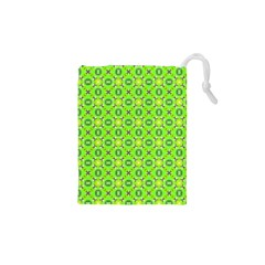 Vibrant Abstract Tropical Lime Foliage Lattice Drawstring Pouches (xs)  by DianeClancy