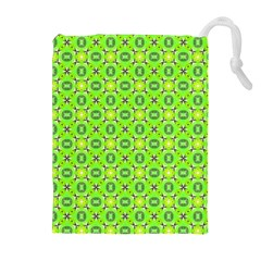 Vibrant Abstract Tropical Lime Foliage Lattice Drawstring Pouches (extra Large) by DianeClancy
