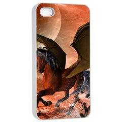 Wonderful Dark Unicorn In The Night Apple Iphone 4/4s Seamless Case (white) by FantasyWorld7