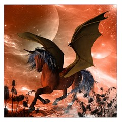 Wonderful Dark Unicorn In The Night Large Satin Scarf (square) by FantasyWorld7