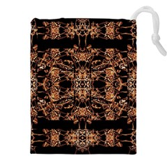Dark Ornate Abstract  Pattern Drawstring Pouches (xxl) by dflcprints