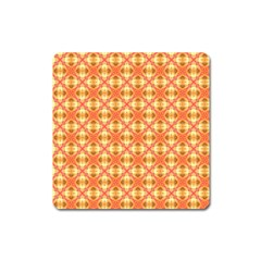 Peach Pineapple Abstract Circles Arches Square Magnet by DianeClancy