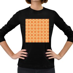 Peach Pineapple Abstract Circles Arches Women s Long Sleeve Dark T Shirts by DianeClancy