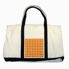 Peach Pineapple Abstract Circles Arches Two Tone Tote Bag by DianeClancy