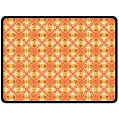 Peach Pineapple Abstract Circles Arches Fleece Blanket (large)  by DianeClancy