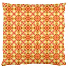 Peach Pineapple Abstract Circles Arches Large Cushion Case (one Side) by DianeClancy