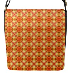 Peach Pineapple Abstract Circles Arches Flap Messenger Bag (s) by DianeClancy