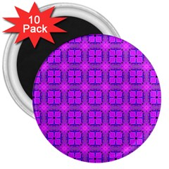 Abstract Dancing Diamonds Purple Violet 3  Magnets (10 Pack)  by DianeClancy