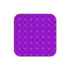 Abstract Dancing Diamonds Purple Violet Rubber Coaster (square)  by DianeClancy