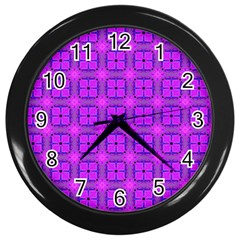 Abstract Dancing Diamonds Purple Violet Wall Clocks (black) by DianeClancy