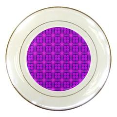 Abstract Dancing Diamonds Purple Violet Porcelain Plates by DianeClancy