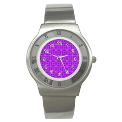 Abstract Dancing Diamonds Purple Violet Stainless Steel Watch by DianeClancy