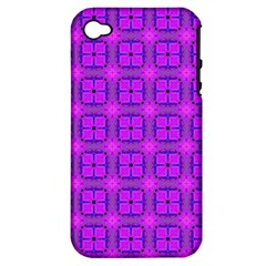 Abstract Dancing Diamonds Purple Violet Apple Iphone 4/4s Hardshell Case (pc+silicone) by DianeClancy