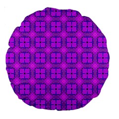 Abstract Dancing Diamonds Purple Violet Large 18  Premium Round Cushions by DianeClancy