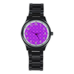 Abstract Dancing Diamonds Purple Violet Stainless Steel Round Watch by DianeClancy