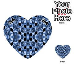 Indigo Check Ornate Print Playing Cards 54 (Heart)  by dflcprints