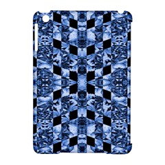 Indigo Check Ornate Print Apple Ipad Mini Hardshell Case (compatible With Smart Cover) by dflcprints