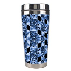 Indigo Check Ornate Print Stainless Steel Travel Tumblers by dflcprints