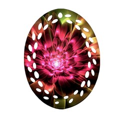 Red Peony Ornament (oval Filigree)  by Delasel