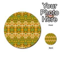 Boho Stylized Floral Stripes Multi Purpose Cards (round)  by dflcprints