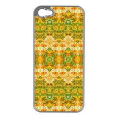 Boho Stylized Floral Stripes Apple Iphone 5 Case (silver) by dflcprints