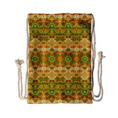 Boho Stylized Floral Stripes Drawstring Bag (small) by dflcprints