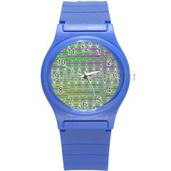 Colorful Zigzag Pattern Round Plastic Sport Watch (s) by BrightVibesDesign